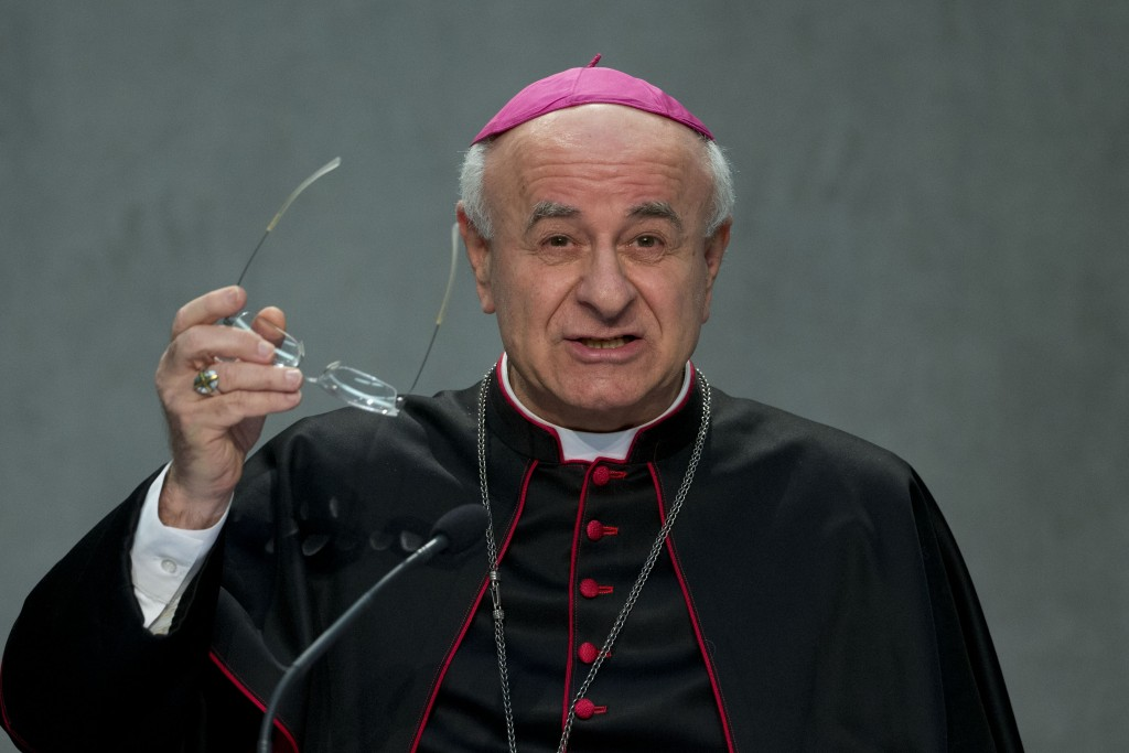FILE - In this Wednesday, Feb. 4, 2015 filer, Archbishop Vincenzo Paglia, President of the Vatican's Pontifical Council of Life, speaks to reporters d...