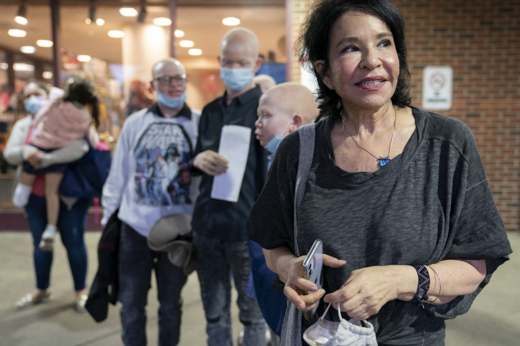 Elissa Montanti, founder and director at The Global Medical Relief Fund, stands outside the Richmond University Medical Center after securing COVID-19...