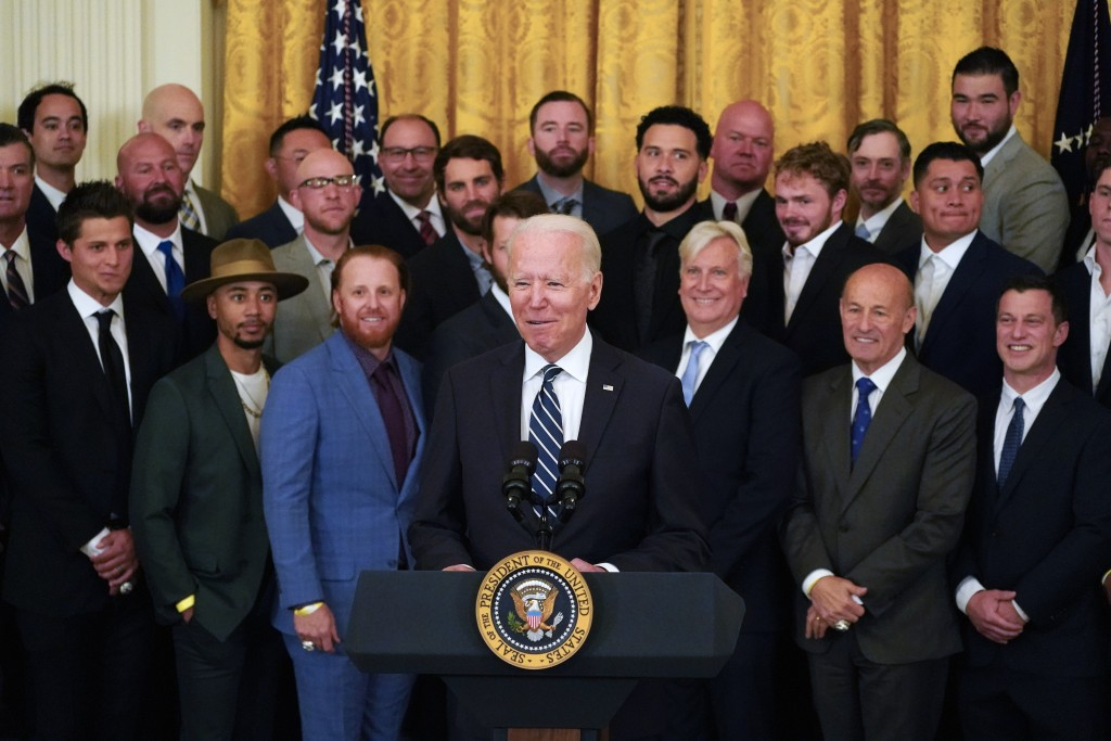 President Joe Biden speaks during an event to honor the 2020 World Series champion Los Angeles Dodgers baseball team at the White House, Friday, July ...