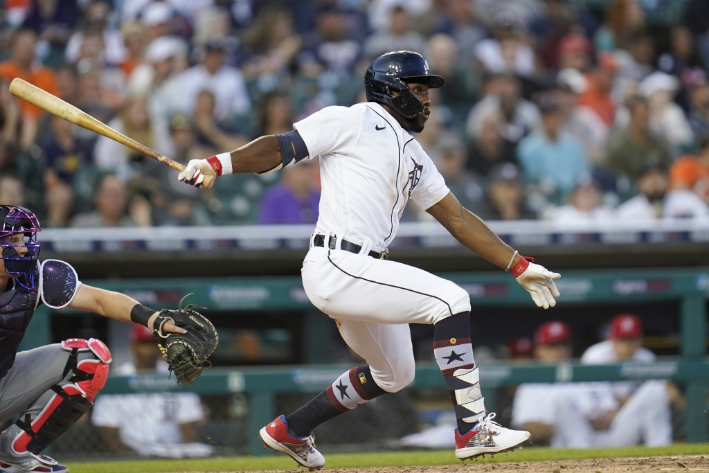 Detroit Tigers' Akil Baddoo singles against the Chicago White Sox in the fifth inning of a baseball game in Detroit, Friday, July 2, 2021. (AP Photo/P...