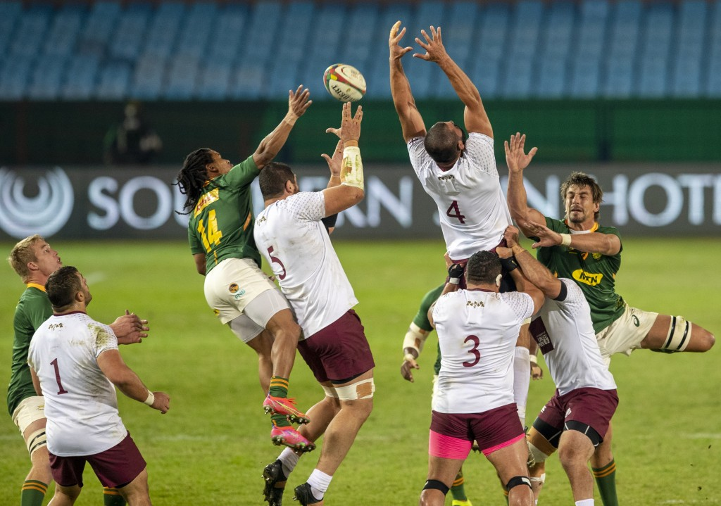 Players jump for the ball during first test rugby match between South Africa and Georgia at Loftus Versfeld in Pretoria, South Africa, Friday, July 2,...