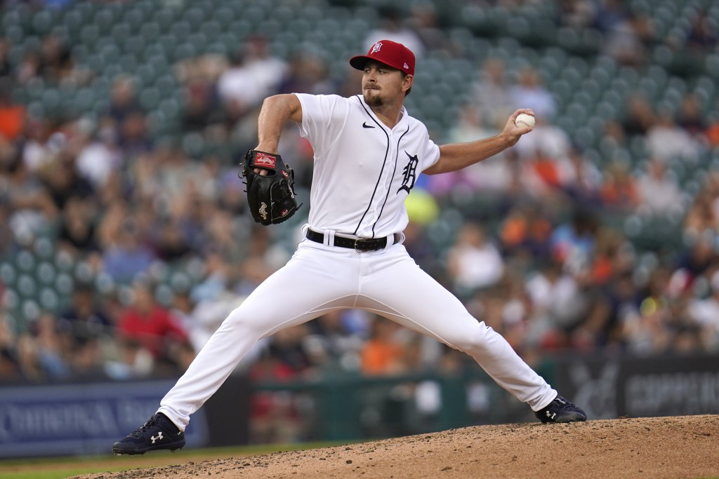 Detroit Tigers pitcher Tyler Alexander throws against the Chicago White Sox in the fourth inning of a baseball game in Detroit, Friday, July 2, 2021. ...