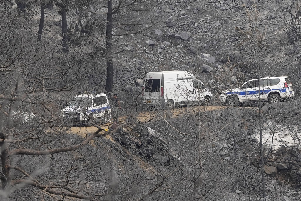 Police gather near an abandoned van on Troodos mountain, in Ora village, southwestern Cyprus, Sunday, July 4, 2021. Cyprus search crews discovered the...