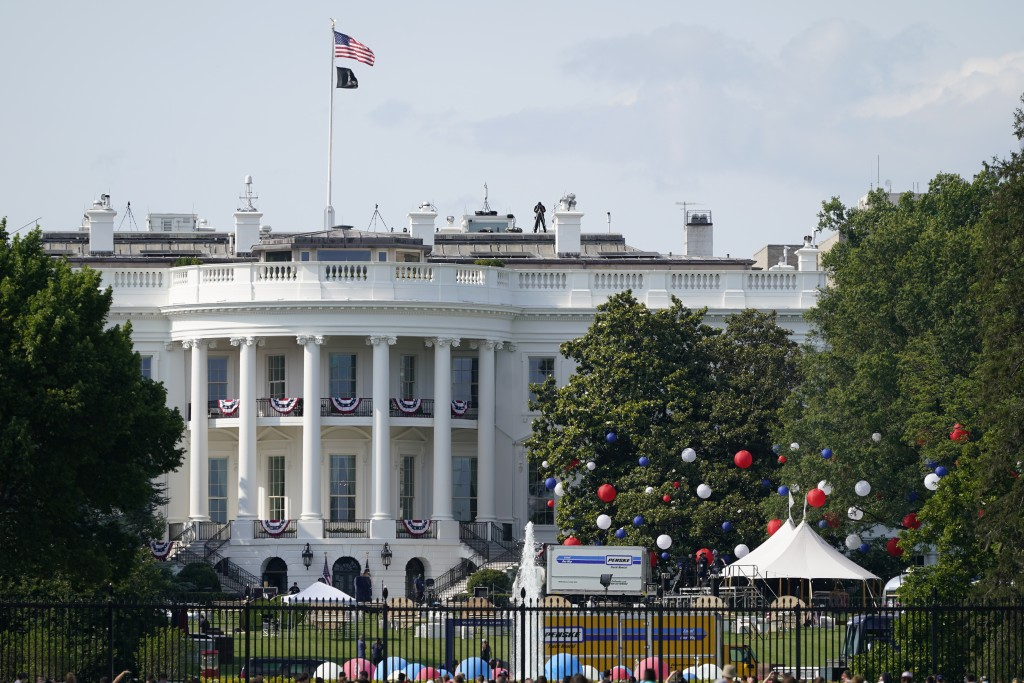 Preparations take place for an Independence Day celebration on the South Lawn of the White House, Saturday, July 3, 2021, in Washington. (AP Photo/Pat...