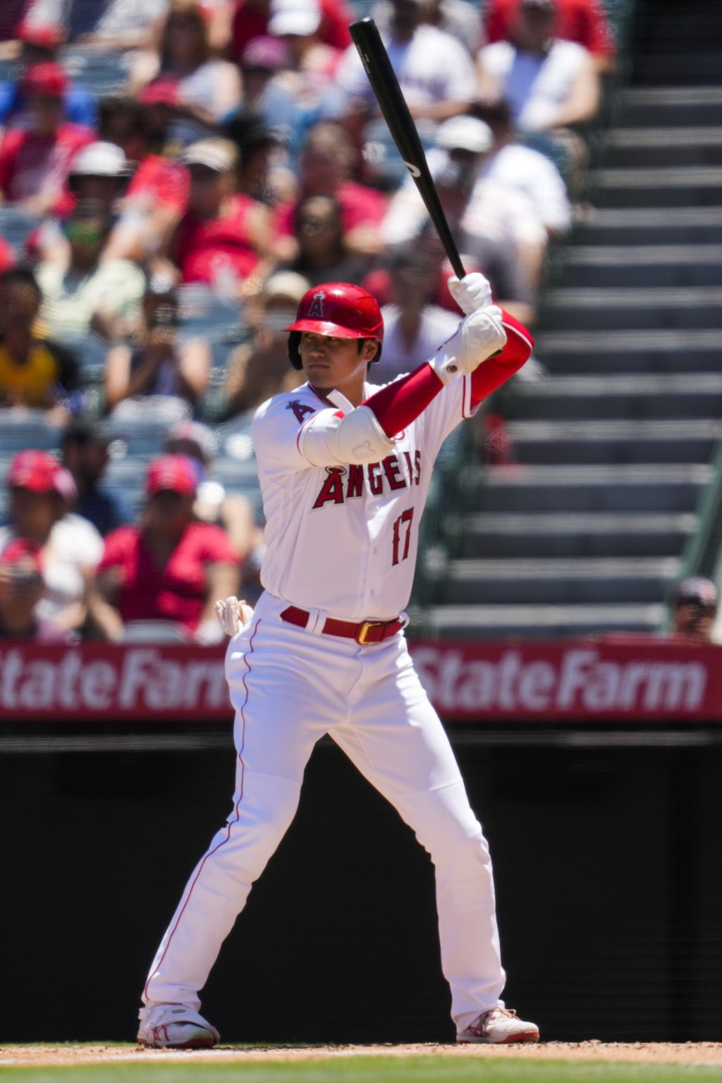 Los Angeles Angels designated hitter Shohei Ohtani (17) steps up to bat during the first inning of a baseball game against the Baltimore Orioles Sunda...