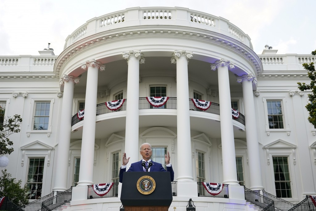 President Joe Biden speaks during an Independence Day celebration on the South Lawn of the White House, Sunday, July 4, 2021, in Washington. (AP Photo...