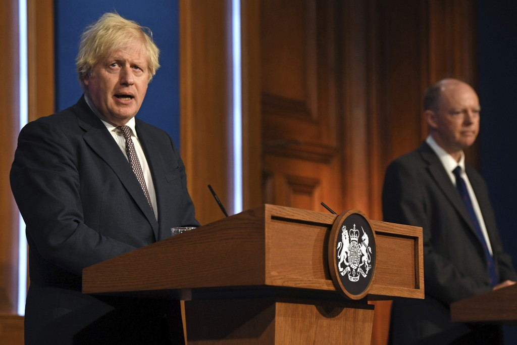 Britain's Prime Minister Boris Johnson speaks during a media briefing on coronavirus in Downing Street, London, Monday, July 5, 2021. Johnson on Monda...
