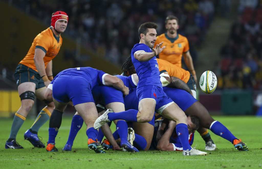 France's Baptiste Couilloud kicks the ball during the rugby international between France and Australia at Suncorp Stadium in Brisbane, Australia, Wedn...
