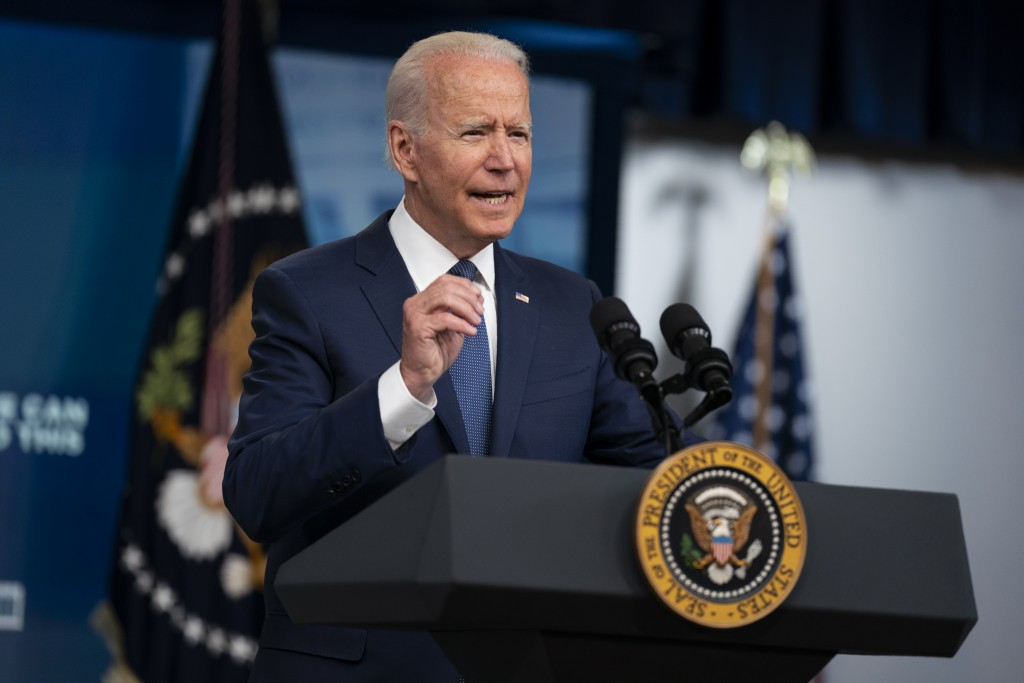 President Joe Biden speaks about the COVID-19 vaccination program during an event in the South Court Auditorium on the White House campus, Tuesday, Ju...