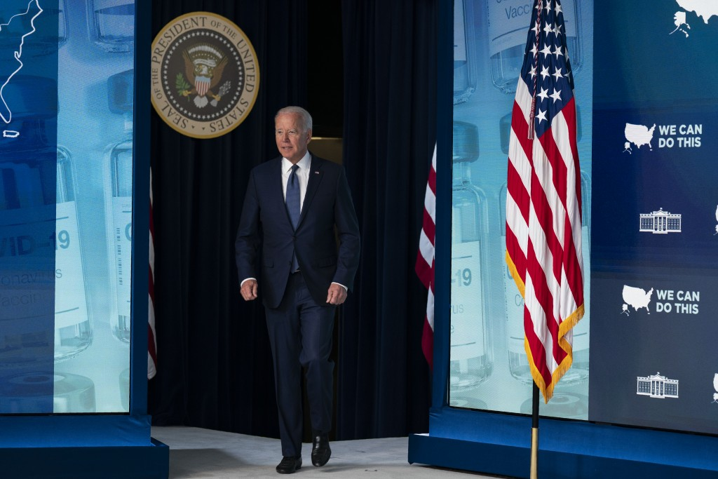 President Joe Biden arrives to deliver remarks about the COVID-19 vaccination program during an event in the South Court Auditorium on the White House...