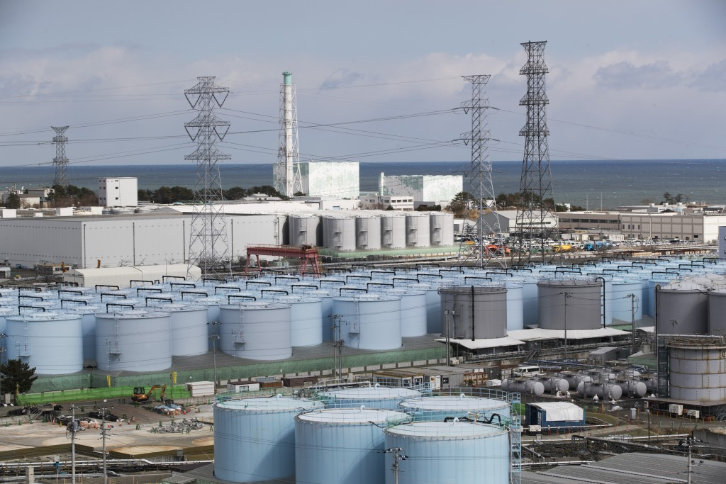 Tanks storing water that has been treated but is still radioactiveat the Fukushima Daiichi nuclear power plant in Japan.