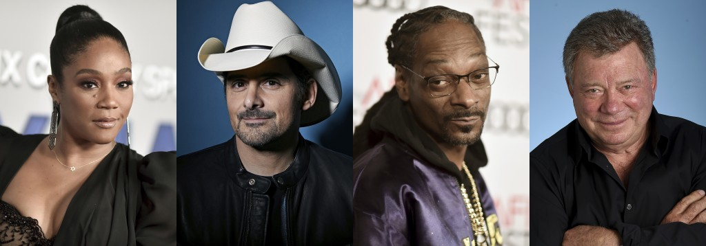 This combination photo shows, from eft, Tiffany Haddish, Brad Paisley, Snoop Dogg and William Shatner who will participate in  this year's Shark Week,...