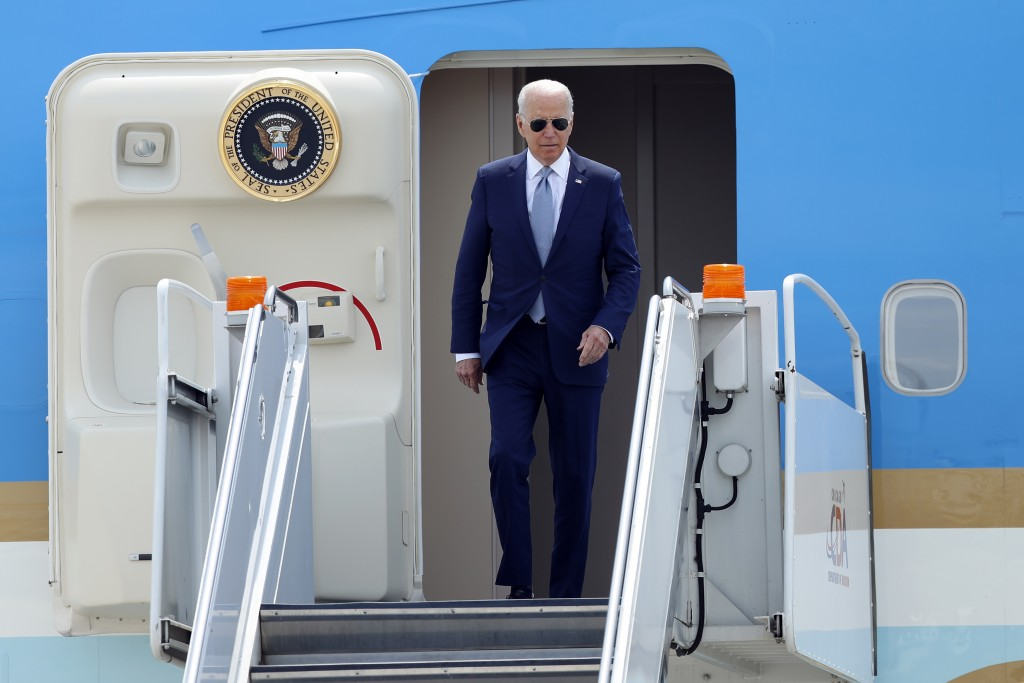 President Joe Biden arrives on Air Force One at O'Hare International Airport in Chicago, Wednesday, July 7, 2021. Biden is visiting Illinois to amplif...