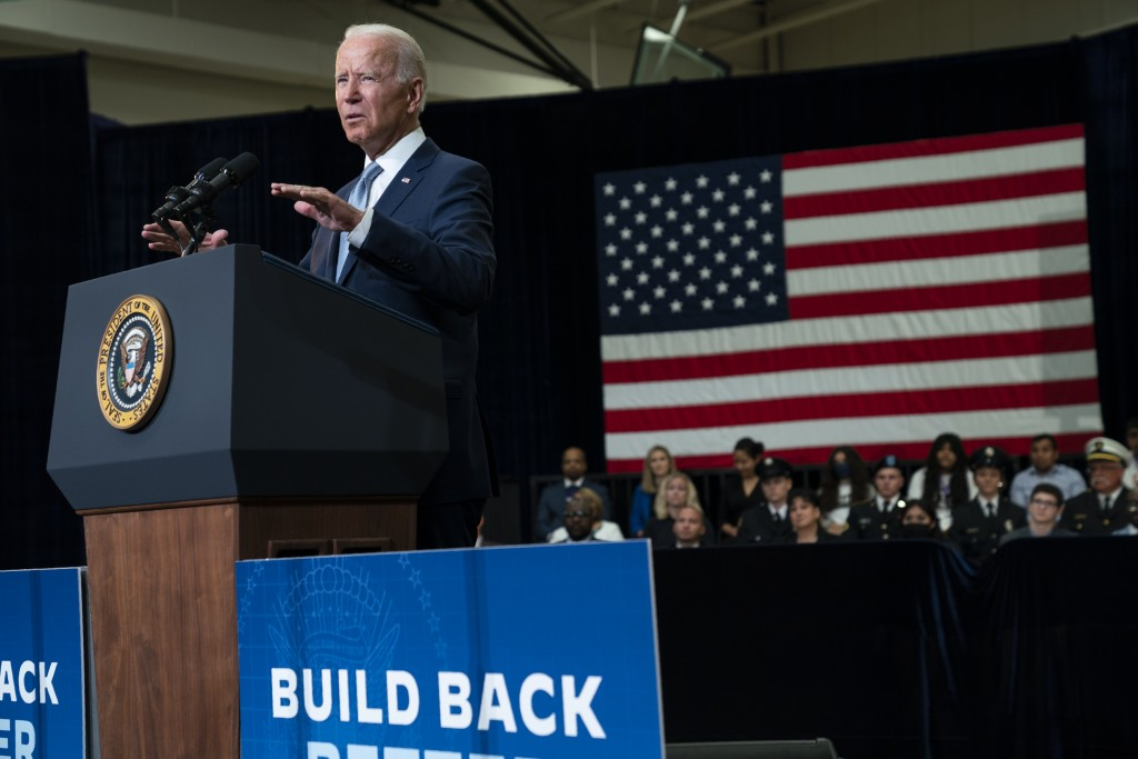 President Joe Biden delivers remarks on infrastructure spending at McHenry County College, Wednesday, July 7, 2021, in Crystal Lake, Ill. (AP Photo/Ev...