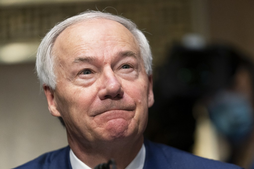 FILE - In this Tuesday, June 22, 2021, file photo, Arkansas Gov. Asa Hutchinson testifies before a Senate Judiciary Committee hearing on Capitol Hill,...