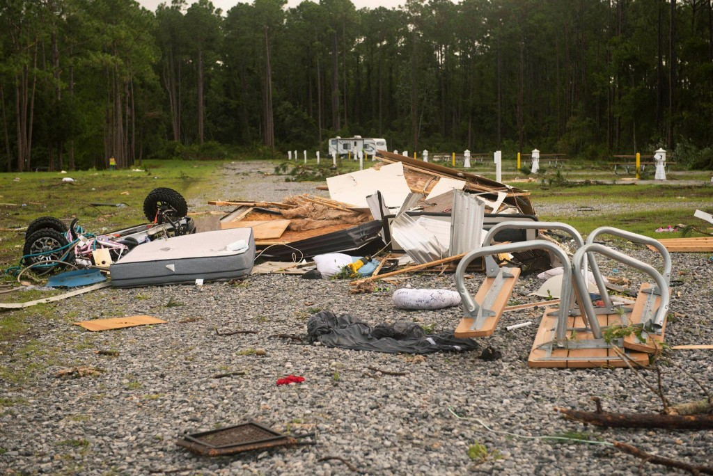 Debris covers the ground after a tornado struck Wednesday, the on-base RV park on Naval Submarine Base Kings Bay on Thursday,  July 8, 2021 in Kings G...