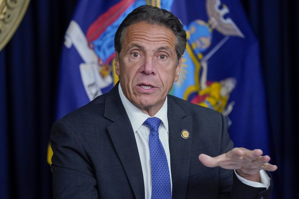 FILE - In this Wednesday, June 23, 2021, file photo, New York Gov. Andrew Cuomo speaks during a news conference, in New York. Cuomo is the outgoing ch...