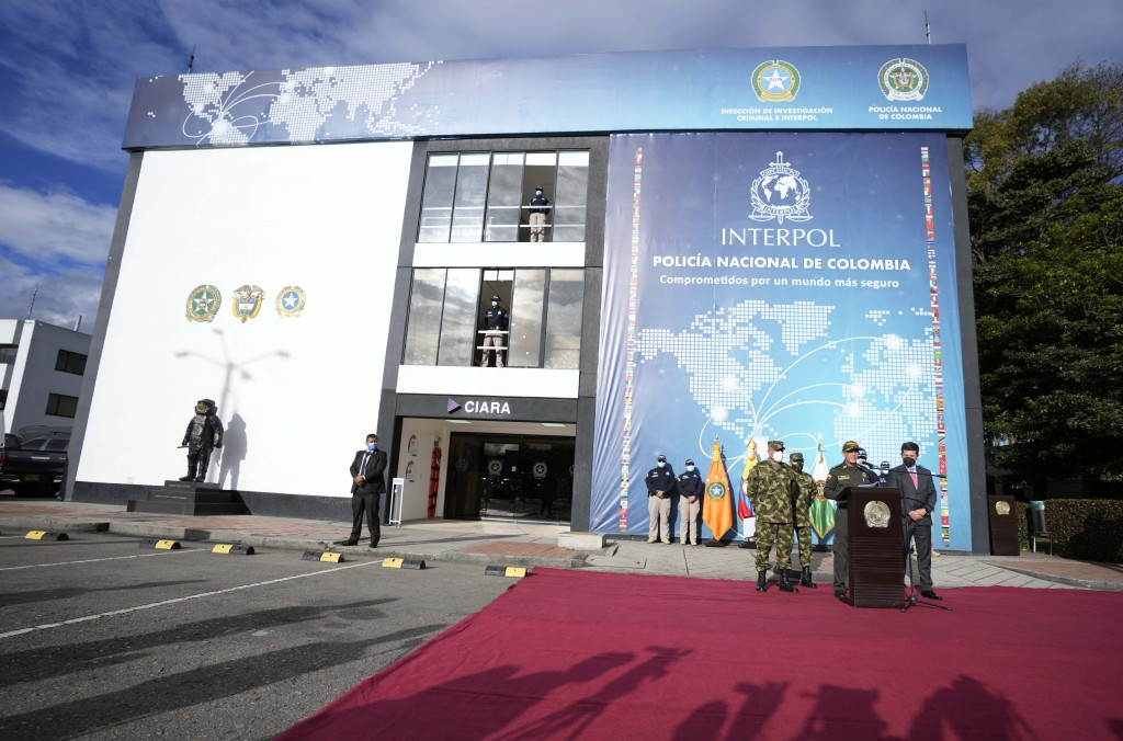 National Police Director Gen. Jorge Luis Vargas speaks to the media regarding the alleged participation of former Colombian soldiers in the assassinat...