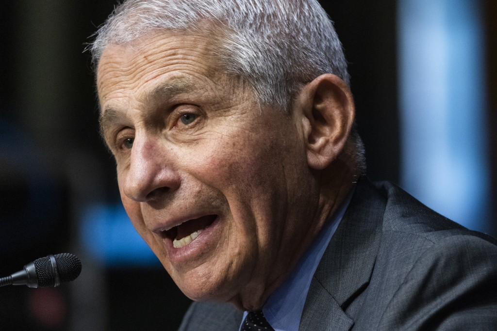 FILE - In this May 11, 2021 file photo, Dr. Anthony Fauci, director of the National Institute of Allergy and Infectious Diseases, speaks during a Sena...
