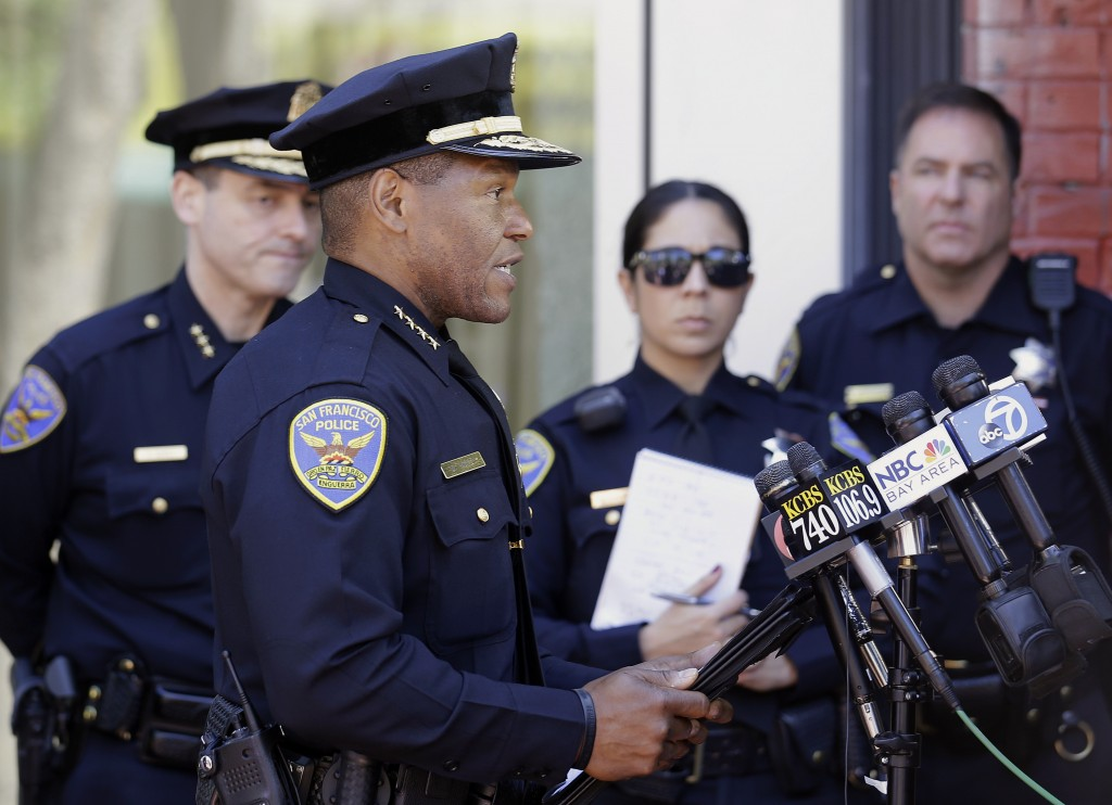 FILE - In this May 3, 2017, file photo, San Francisco Police Chief Bill Scott speaks to reporters in San Francisco. San Francisco saw an increase in s...