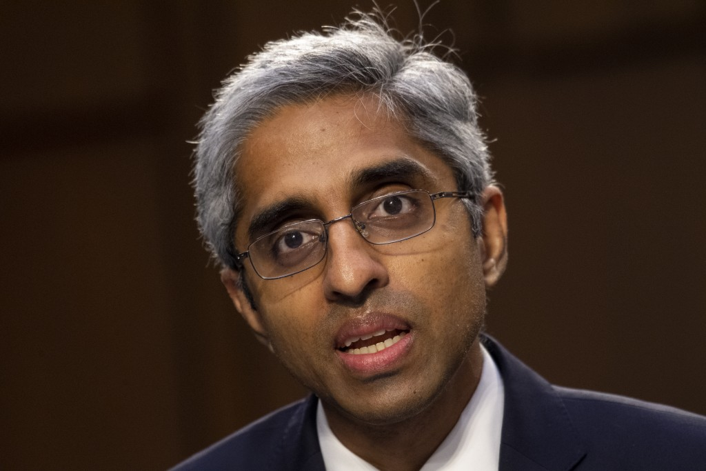 FILE - In this Feb. 25, 2021 file photo, Vivek Murthy testifies before the Senate Health, Education, Labor, and Pensions committee on Capitol Hill in ...