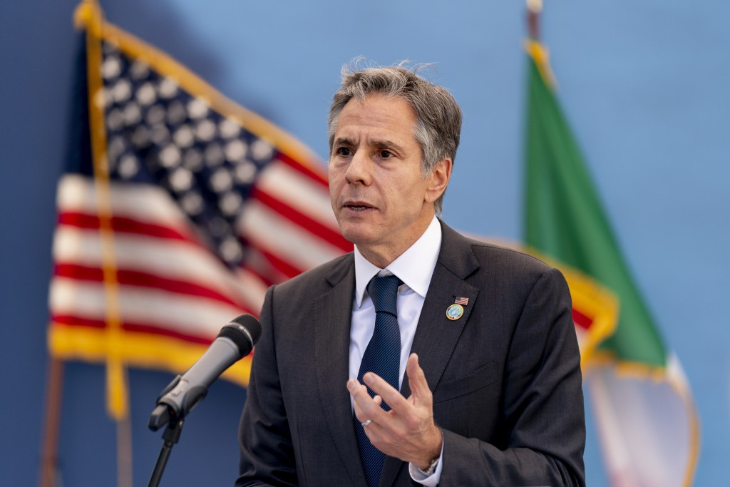 FILE - In this June 27, 2021, file photo, U.S. Secretary of State Antony Blinken speaks at a meeting with U.S. Tri-Mission Italy staff at the U.S. Amb...