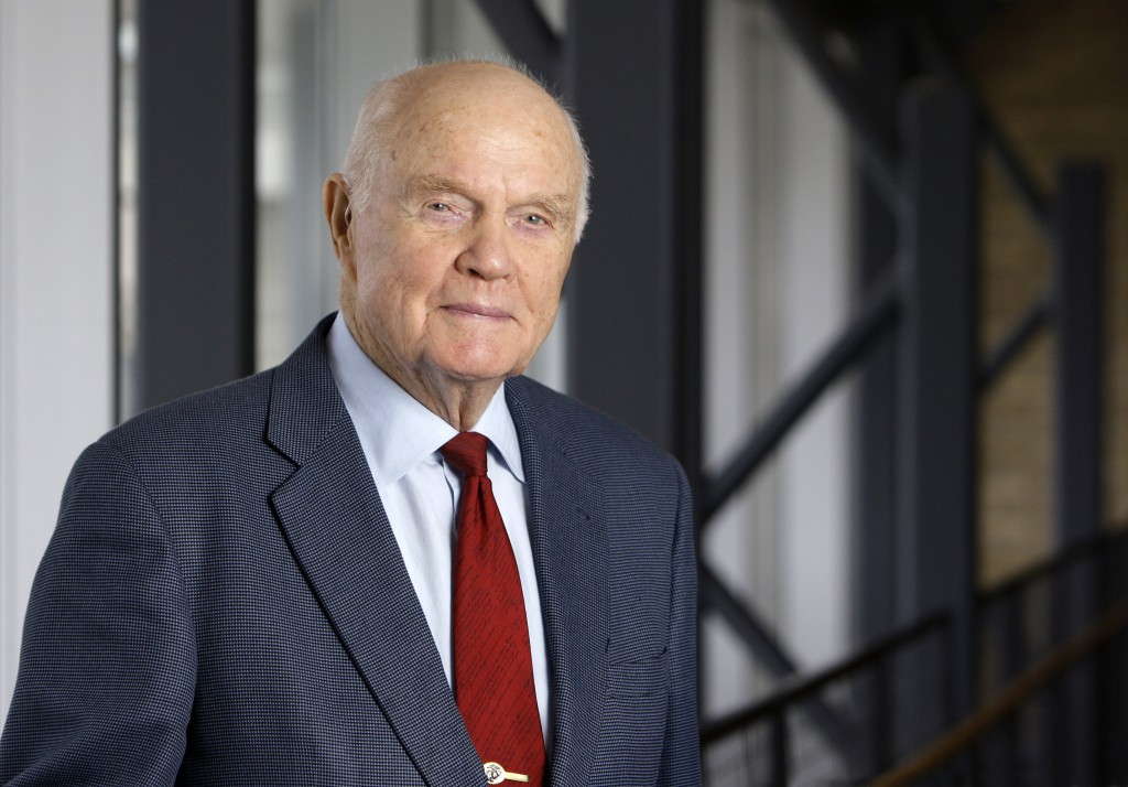 FILE - In this Jan. 25, 2012, file photo, former astronaut and Sen. John Glenn poses for a photo during an interview at his office in Columbus, Ohio. ...