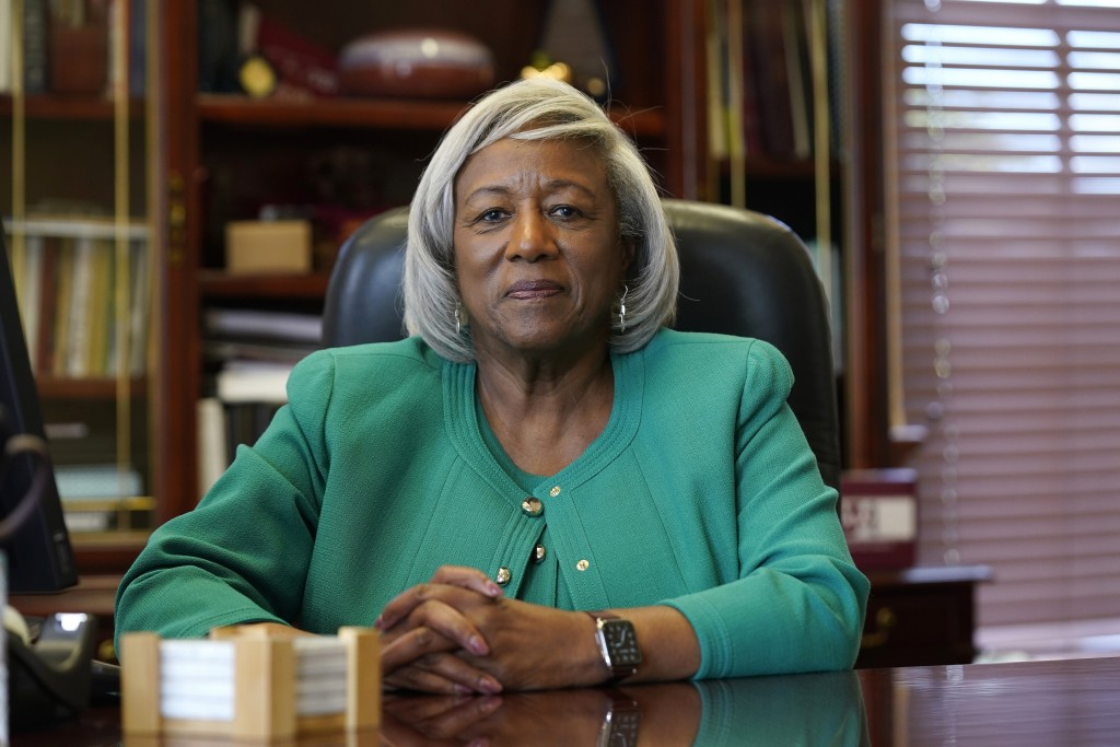 """Dr. Paulette Dillard, President of Shaw University, a private Black university is shown on campus in Raleigh, N.C., Monday, July 12, 2021. """"While larg..."""