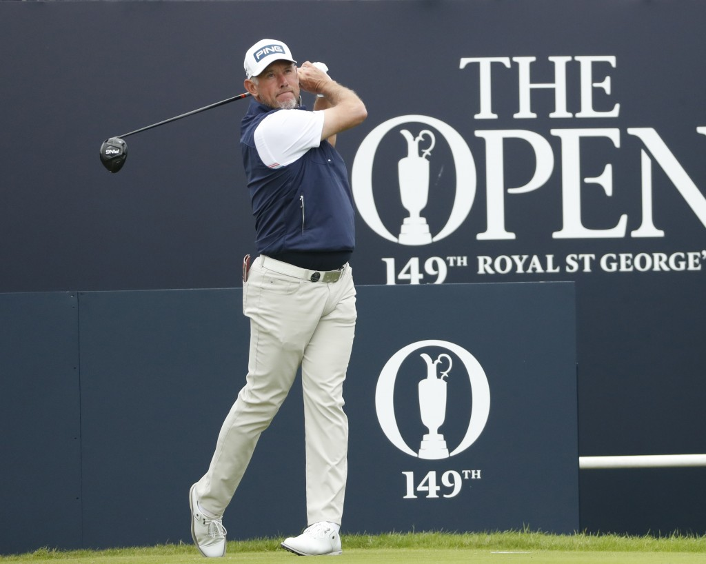 England's Lee Westwood plays his tee shot from the 1st tee during a practice round for the British Open Golf Championship at Royal St George's golf co...