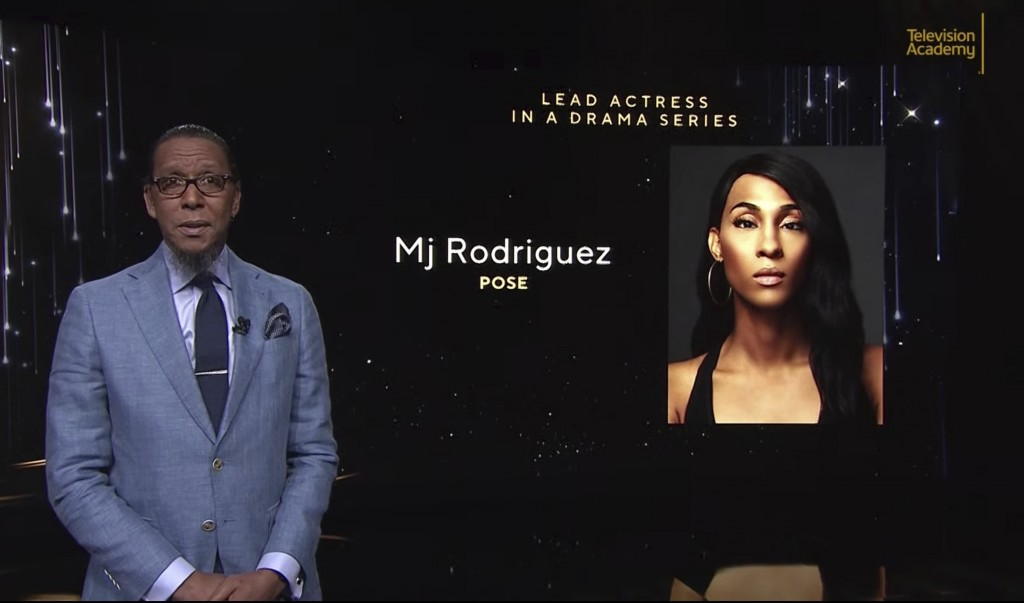 This video grab provided by the Academy of Television Arts & Sciences shows Ron Cephas Jones as he announces Mj Rodriguez as a nominee for lead actres...