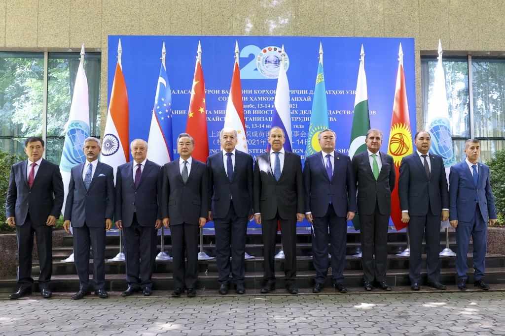 SCO leaderspose for a photo prior to theirmeeting in Dushanbe, Tajikistan, Wednesday, July 14, 2021. (Russian Foreign Ministry Press Servi...