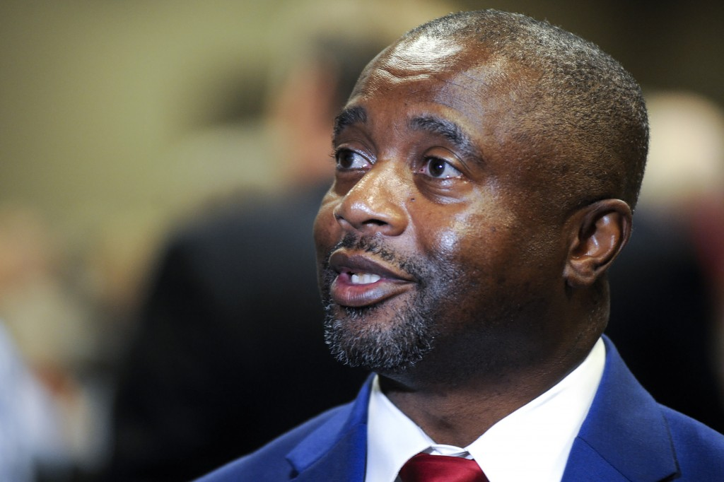 Retired Army Sgt. Kenneth Paschal, the first Black Republican elected to the Alabama Legislature since Reconstruction, speaks before his swearing in c...