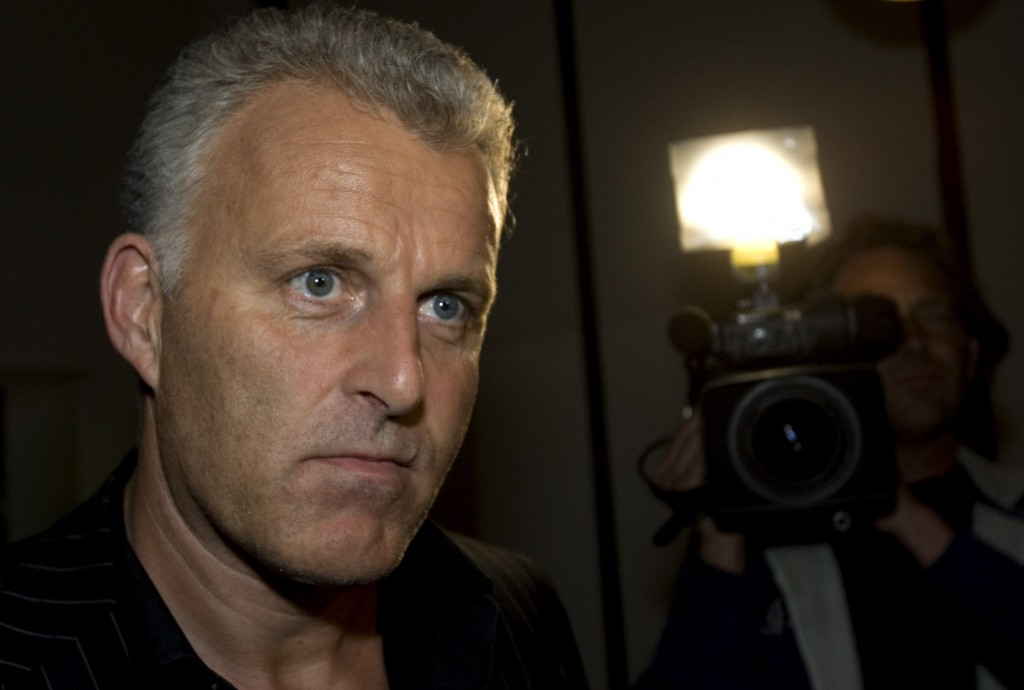 FILE - In this Thursday Jan. 31, 2008 file photo, Dutch crime reporter Peter R. de Vries reacts prior to attending a live TV show in Amsterdam, Nether...