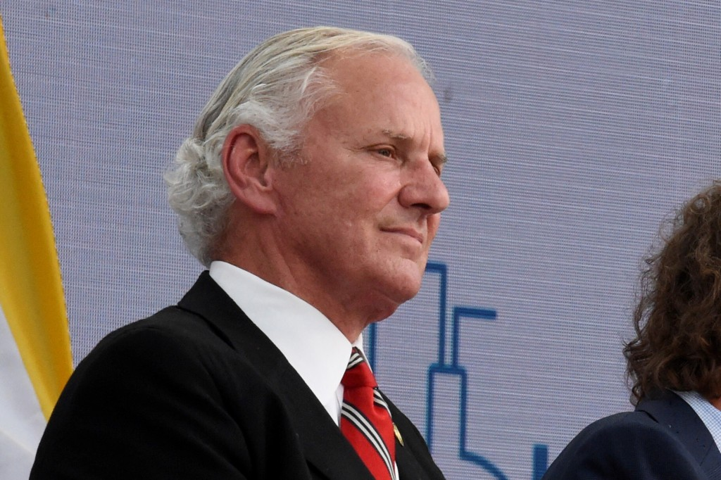 South Carolina Gov. Henry McMaster listens as Nephron Pharmaceuticals Corp. CEO Lou Kennedy speaks during the rollout of her new company, Nephron Nitr...