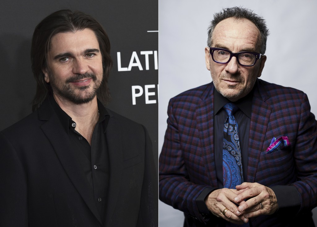 Juanes arrives at the Latin Recording Academy Person of the Year gala in Las Vegas on Nov. 13, 2019, in Las Vegas, left, and Elvis Costello poses for ...