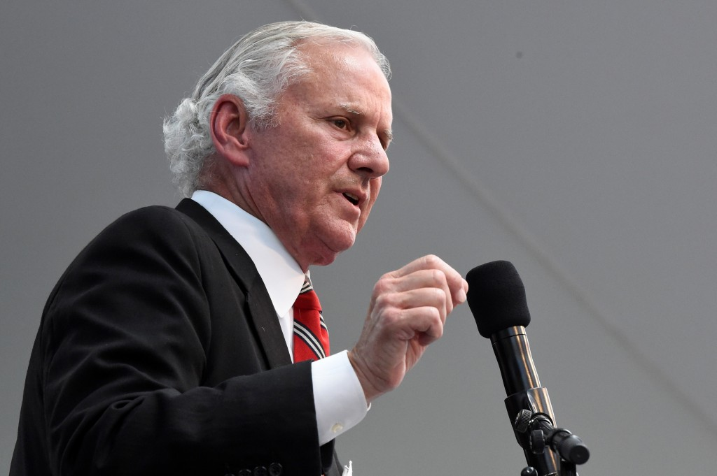 South Carolina Gov. Henry McMaster speaks during the rollout of Nephron Pharmaceuticals Corp.'s new company, Nephron Nitrile, which CEO Lou Kennedy sa...