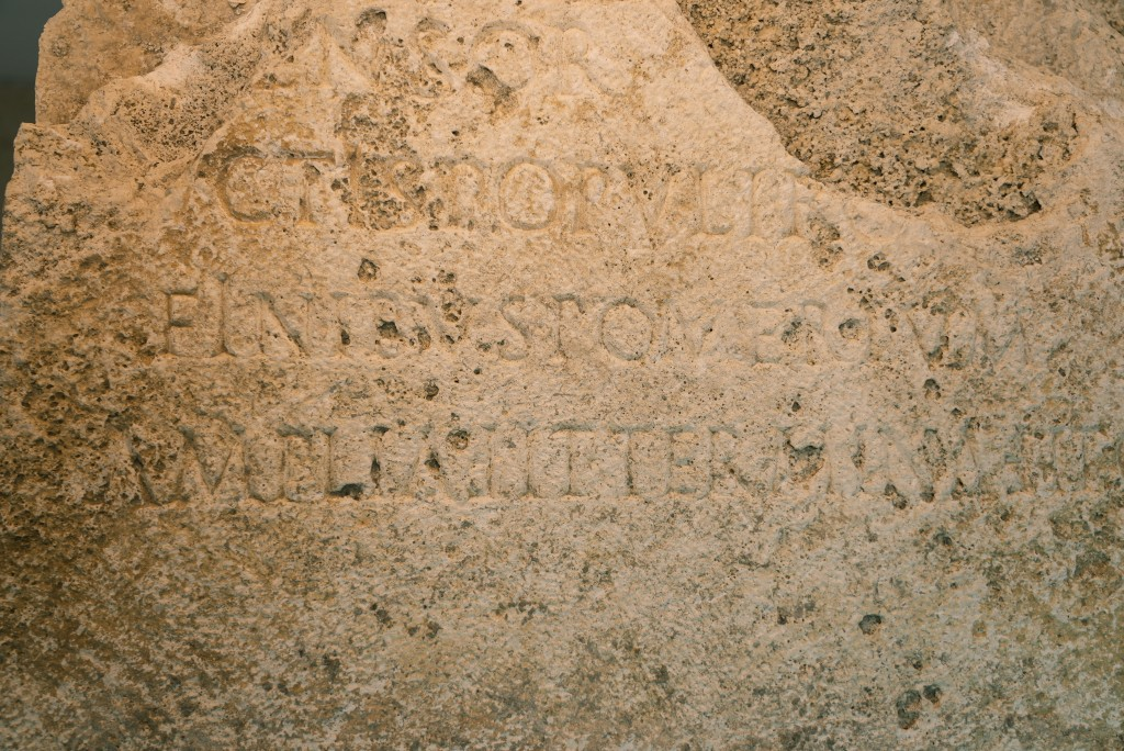 A detail of an archeological finding emerged during the excavations at a Mausoleum is pictured during its presentation to the press in Rome, Friday, J...
