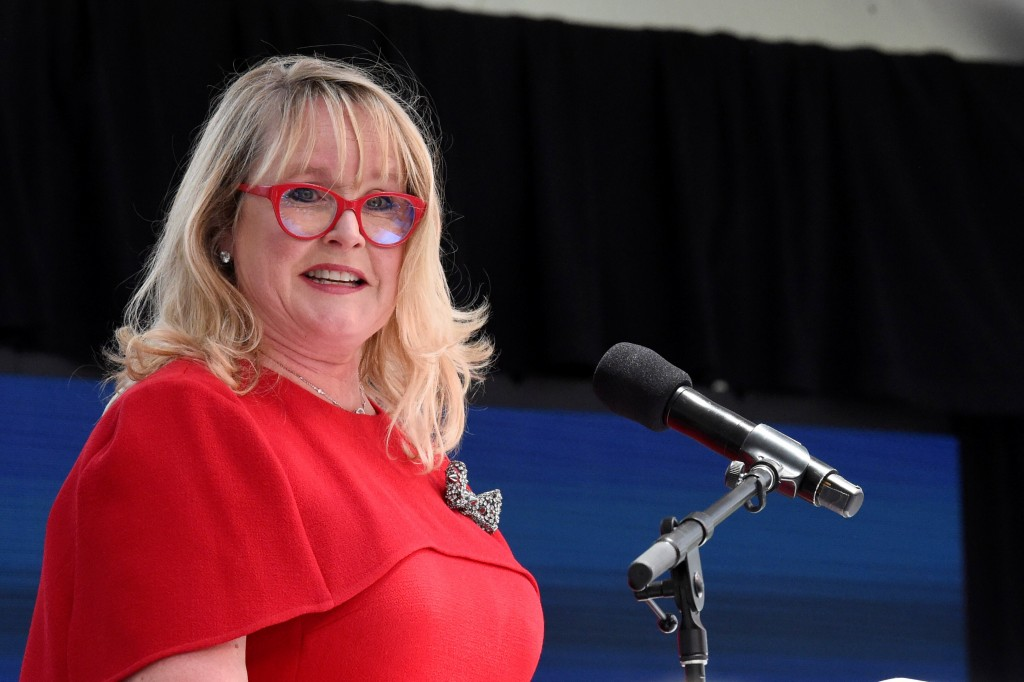 Nephron Pharmaceuticals Corp. CEO Lou Kennedy speaks during the rollout of her new company, Nephron Nitrile, which Kennedy says will manufacture medic...