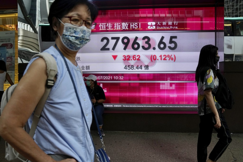 A woman wearing a face mask walks past a bank's electronic board showing the Hong Kong share index in Hong Kong, Friday, July 16, 2021. Shares were mo...