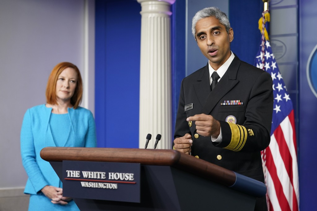 Surgeon General Dr. Vivek Murthy speaks during the daily briefing at the White House in Washington, Thursday, July 15, 2021. White House press secreta...