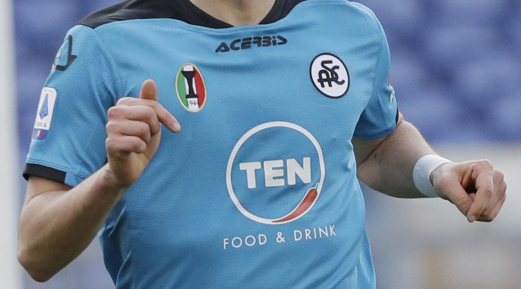 FILE - In this file photo dated Saturday, Jan. 23, 2021, A Spezia soccer team shirt during the Italian Series A match against Roma at the Rome Olympic...