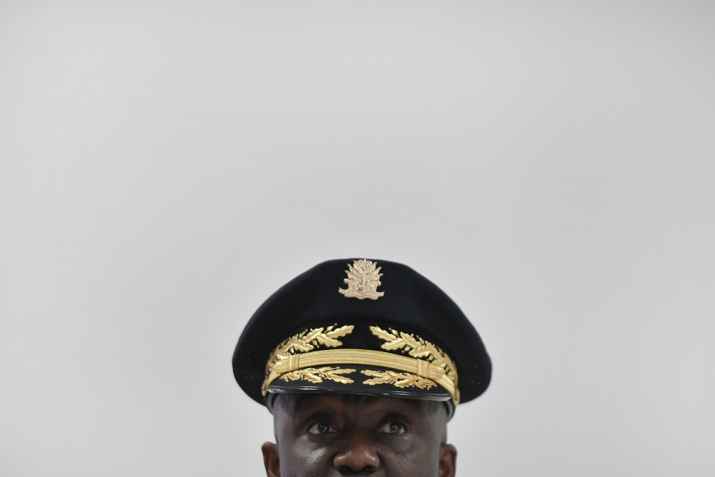 Haitian's Police Director General Leon Charles attends a news conference at police headquarters, in Port-au-Prince, Haiti, Thursday, July 15, 2021. Ch...