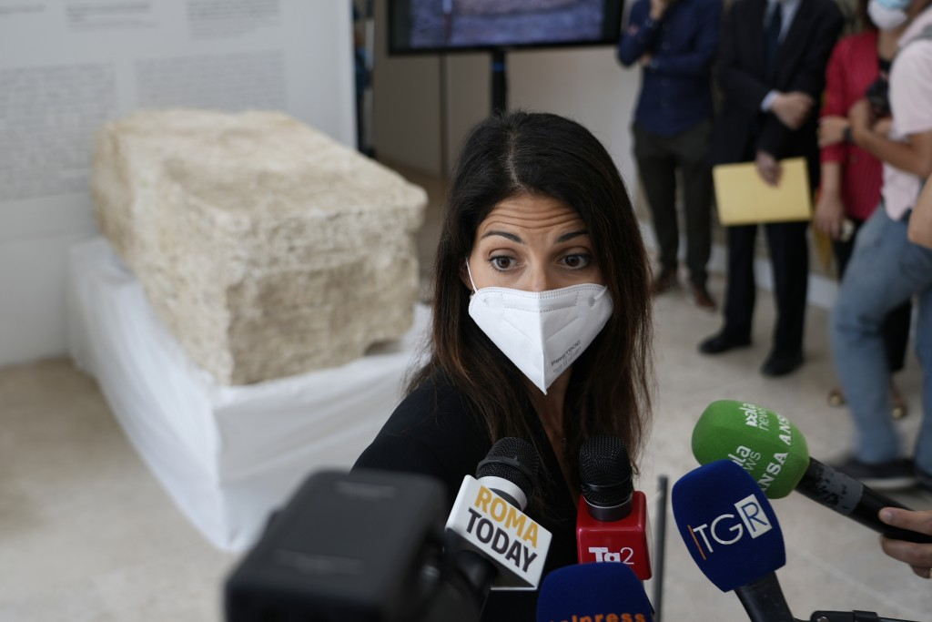 Rome's Mayor Virginia Raggi, answers to journalists' questions, during the presentation to the press of an archeological finding emerged during the ex...
