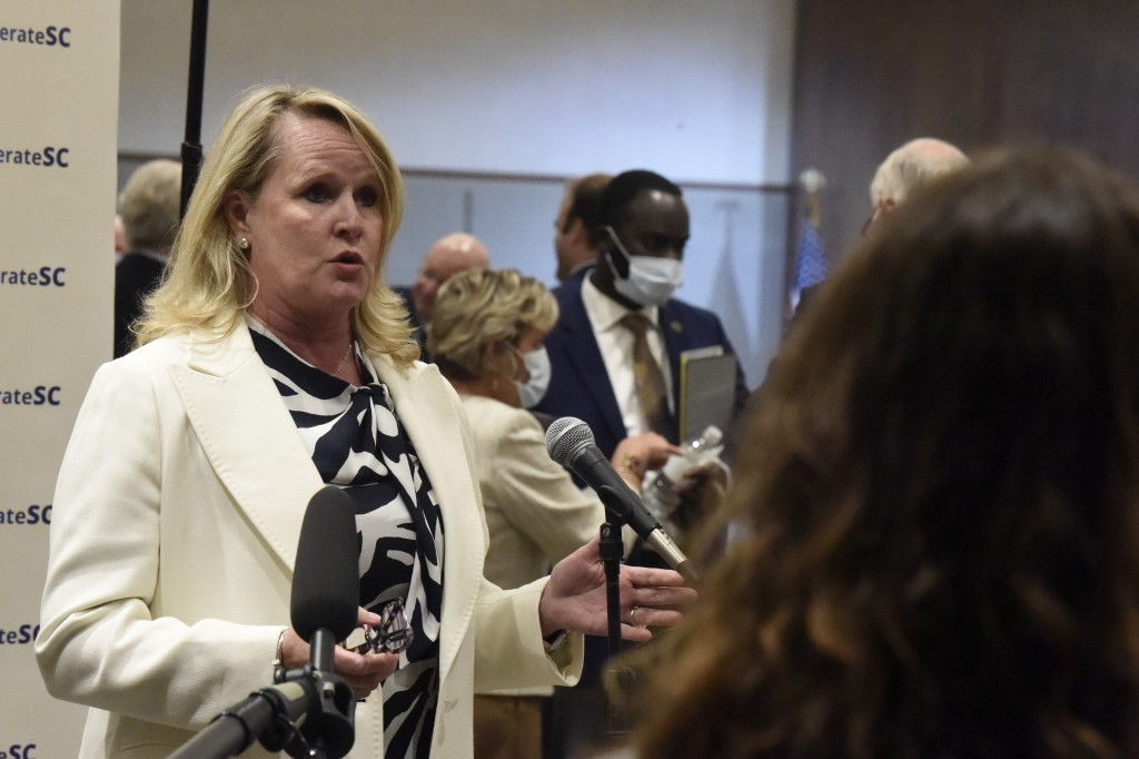 FILE - Lou Kennedy, CEO of Nephron Pharmaceuticals, speaks with reporters Thursday, April 23, 2020, in Columbia, S.C. The South Carolina-based pharmac...
