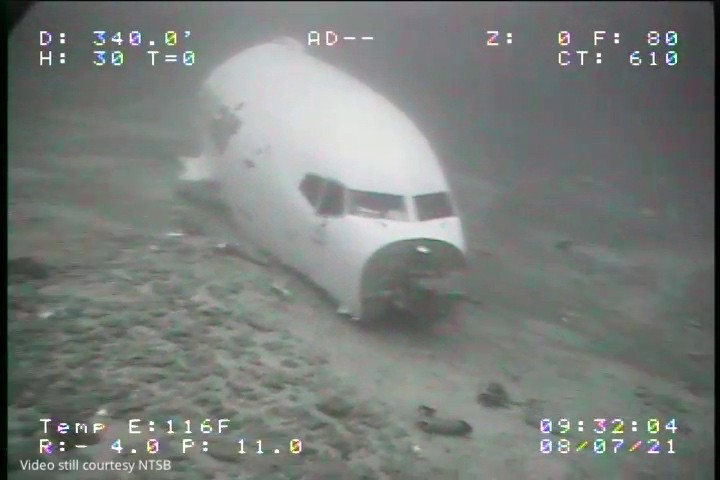 In this July 8, 2021 image from video provided by Sea Engineering, Inc. via the National Transportation Safety Board, the jet cabin from Transair Flig...