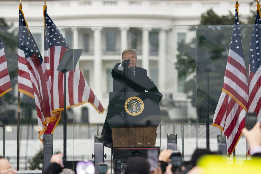 FILE - In this Jan. 6, 2021, file photo President Donald Trump speaks during a rally protesting the electoral college certification of Joe Biden as Pr...