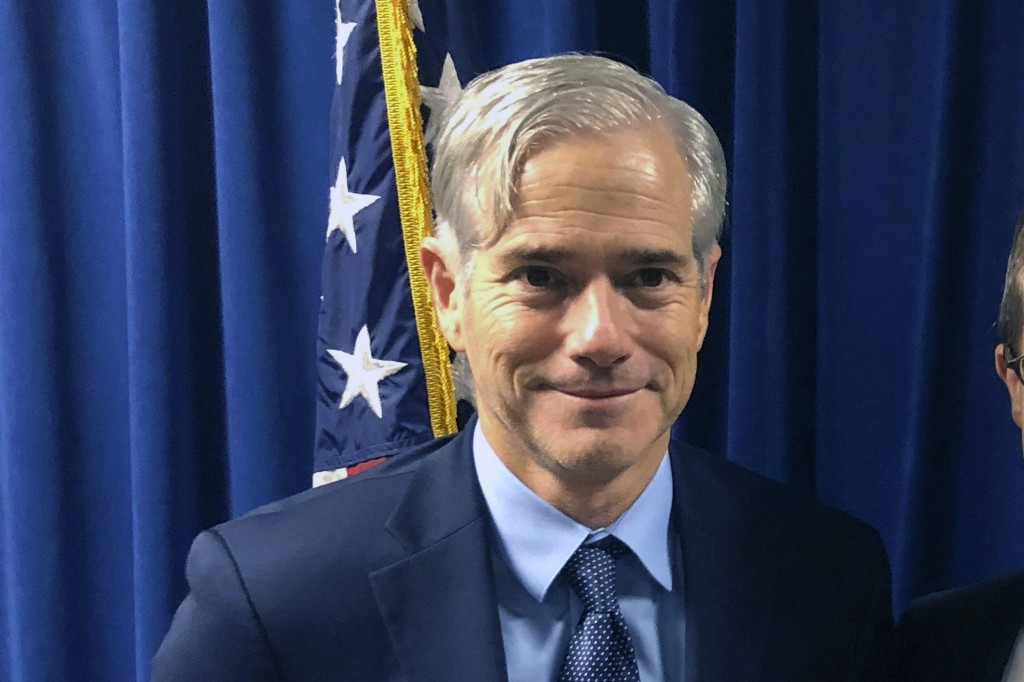 FILE - In this Oct. 29, 2018, file photo, David DeVillers, the U.S. Attorney for southern Ohio, is shown in the federal prosecutor's offices in Cincin...