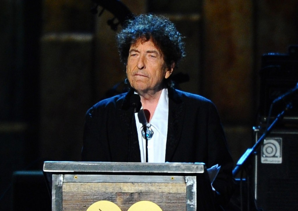 FILE - In this Feb. 6, 2015, file photo, Bob Dylan accepts the 2015 MusiCares Person of the Year award at the 2015 MusiCares Person of the Year show i...