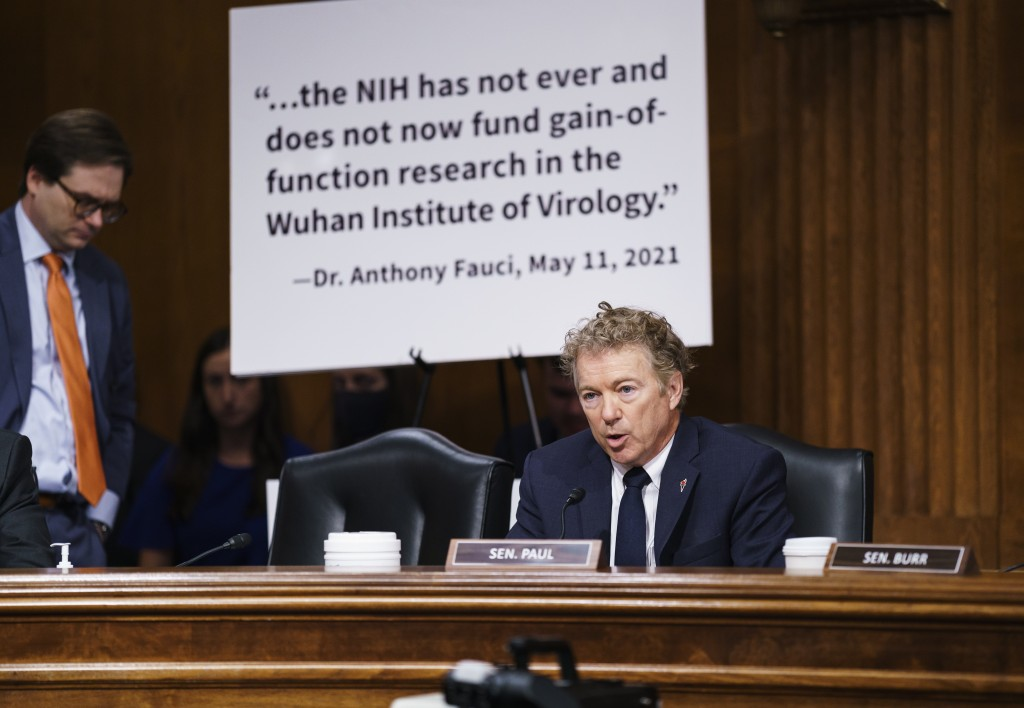 Sen. Rand Paul, R-Ky., questions top infectious disease expert Dr. Anthony Fauci during a Senate Health, Education, Labor, and Pensions Committee hear...