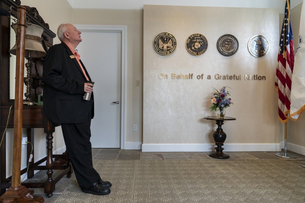 Air Force Mortuary Affairs Operations Senior Chaplain David Sparks pauses for a quiet moment at Dover Fisher House at Dover Air Force Base, Del., Mond...
